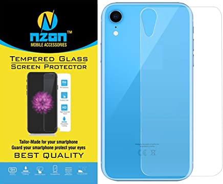 nzon iPhone XR Tempered Glass Edge to Edge[Full Coverage] [Anti Glare][Anti Fingerprint] Tempered Glass Screen Protectors for iPhone XR (Back Tempered Glass)