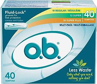 o.b. Original Non-Applicator Tampons, Regular, Super, & Super Plus Absorbancies, Multi Pack of 40 Tampons