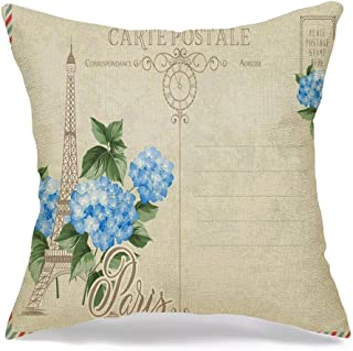Throw Pillow Cover Pink Antique Old Blank Post Stamps Eiffel Hydrangea Purple Architecture Dirty Empty Europe Faded Modern...