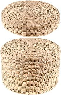 P Prettyia 2 Unids Cojín de Piso Rústico Paja de Paja Asiento Meditación Otomana Decoración para el hogar, Grosor 6 cm y 20 cm