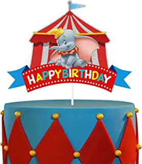 LYNHEVA Glitter Dumbo Cake Topper, Disney Elephant Dumbo Inspired Cake Topper, Dumbo Circus Theme Birthday Party Suppliers...