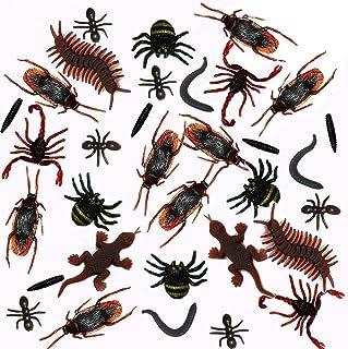 MAKFORT 100Pcs Halloween araignee réalistes Insectes en Plastique Falsiques cafards, araignées, Scorpions, Fourmis, Geckos...