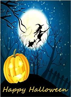 Happy Halloween Witch Pumpkin Jack o Lantern Castle Double Sided Garden Yard Flag 12