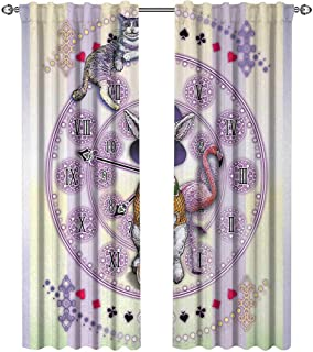 Returiy Animal, Curtains Small Window, Alice in Wonderland Rabbit and Cat Fiction Story Novel Child Display Story, Curtains Living Room, W72 x L108 Inch, Lilac Pale Yellow