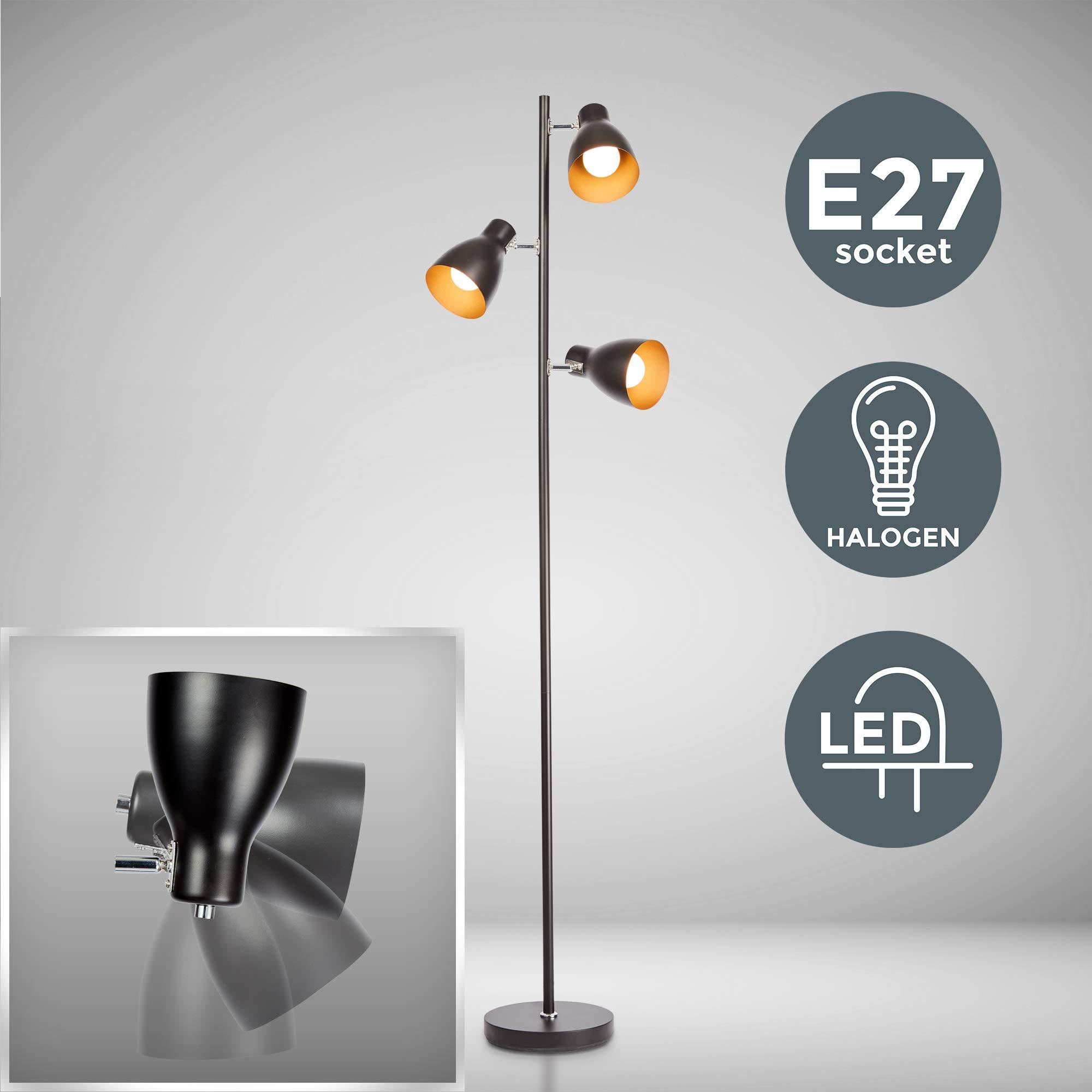 B.K.Licht Lámpara de pie diseño I 3 luces I Negro y Dorado I Bombilla E27 máx. 25 W (excl.) I Altura 1665mm I Métalica I Para salón, dormitorio y estudio: Amazon.es: Iluminación