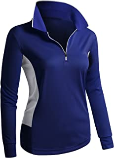 Women's Sport Wear Long Sleeve 2-Tone Zip-up POLO Shirt