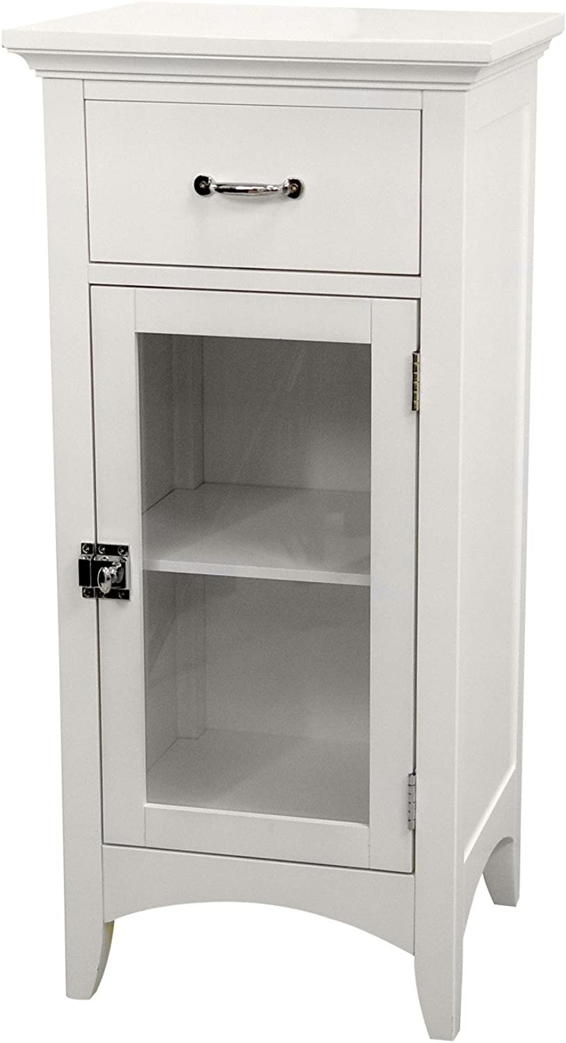 Elegant Home Fashions Madison Avenue Collection Shelved Floor Cabinet with Drawer, White