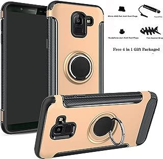 Labanema Galaxy J6 2018 Funda, 360 Rotating Ring Grip Stand Holder Capa TPU + PC Shockproof Anti-rasguños teléfono Caso protección Cáscara Cover para Samsung Galaxy J6 2018 - Oro