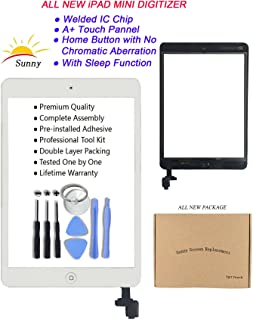iPad Mini Model A1432/A1454/A1455/A1489/A1490 White Digitizer Replacement Screen Replacement Glass Replacement Includes Adhesive Stickers and Professional Tools