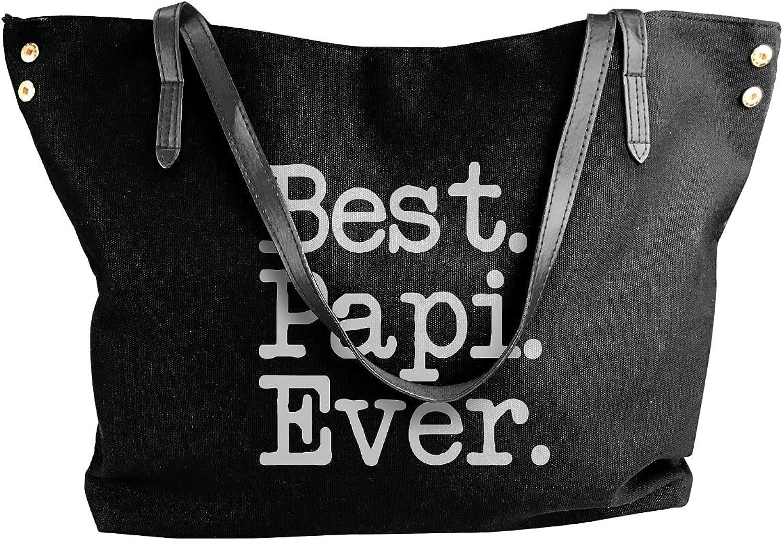 Women's Canvas Best Papi Ever Big Capacity Messenger Tote