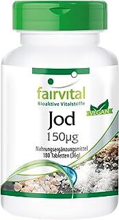 Yodo 150µg - Yoduro de Potasio - VEGANO - Dosis elevada - 180 Comprimidos - Calidad Alemana