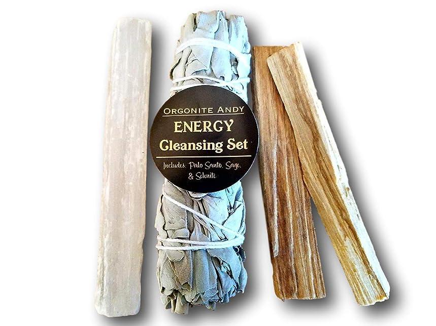 ガム娯楽求めるogoniteアンディ?エネルギークレンジングセット?–?カリフォルニアホワイトセージバンドル、2?Palo Santoスティック、Raw砂漠のクリスタルWand?–?Smudgeキット?–?Natural Herbal Incense