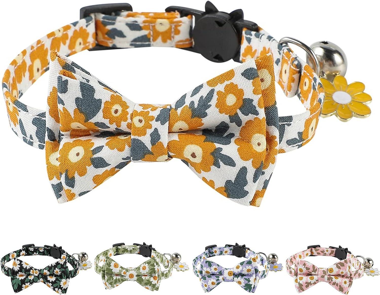 JOYPAWS Virginia Beach Mall Breakaway Cat Collar with Bow Daisy Tie Bell Milwaukee Mall Cute F and