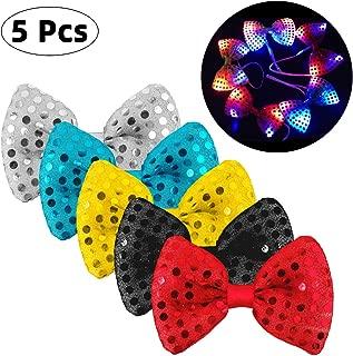 Danolt 5 Stücke LED-Blitz Krawatte Mischungsfarbe Leuchtende Fliege Leuchten Spielzeug Unisex Glitter Krawatte für Kinder Party Maskerade Tanzen Bühne Halloween Weihnachten