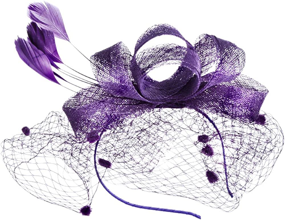 Fashion Women Fascinator Penny Mesh Hat Ribbons And Feathers Wedding Party HatWinter Hats,Sun Protection Hats