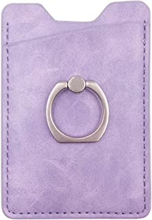 PU Leather Adhesive Phone Pocket Sleeve with Ring Grip Stand,Cell Phone Stick On Card Wallet,Credit Card Holder with 3M Sticker/Metal Pad for Back of iPhone,Android and Smartphones (Purple)