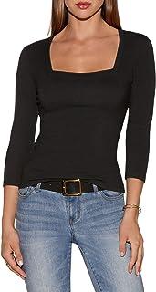 Boston Proper So Sexy Solid Color Women's Three Quarter Sleeve Square Neck Knit Top