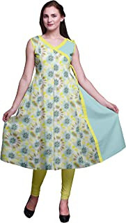 Printed Tops for Women Sleeveless Angrakha Kurti Summer Dress for Girls