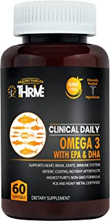 Pure Natural Fish Oil Omega 3 DHA EPA 1000 mg. Advanced Formula for Heart, Brain, Immune System, Joints, Mood, Skin and Eye Health. 60 Non GMO Softgel Capsules for Women and Men. Mercury Free