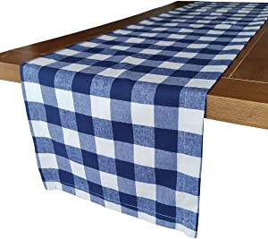 Wemay Cotton Buffalo Check Table Runner for Family Dinners or Gatherings, Indoor or Outdoor Parties, Everyday Use (14 X 72 -Inch Table Runner, Blue & White)
