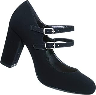 City Classiified Comfort Padded Insole Double Buckle Mary Jane Dress Pump, Chunky Block Heel