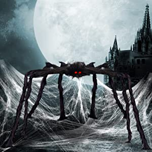 OBABA Halloween Spider Decorations, Giant Realistic Hairy Spiders,Fake Scary Furry Black Party Supplies Poseable Props for Outside Indoor Patio,Yard,Garden,House Décor (5 FT)