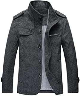 chouyatou Mens Military Stylish Single Breasted Natural Fit Stripe Lined Wool Pea Coats