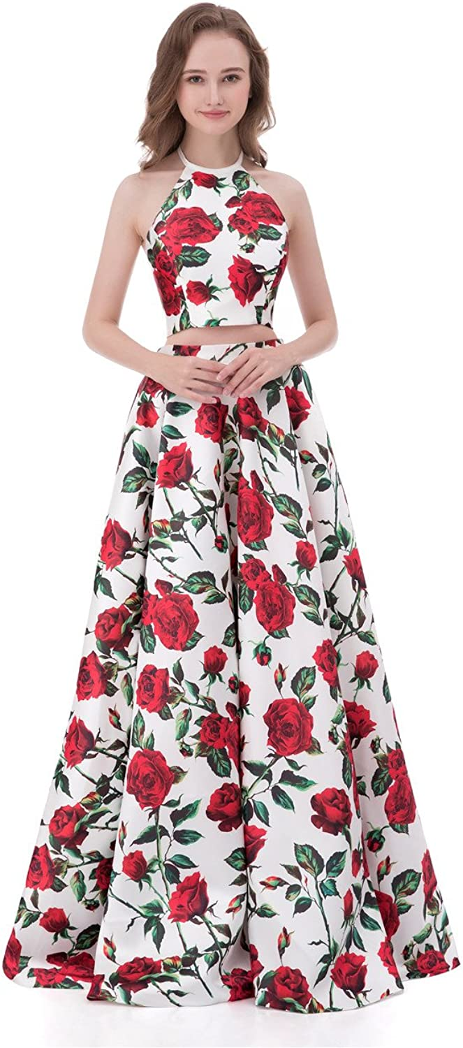 Libaosha Women's Formal Dress Two Pieces Halter Floral Printed Prom Dresses with Pockets