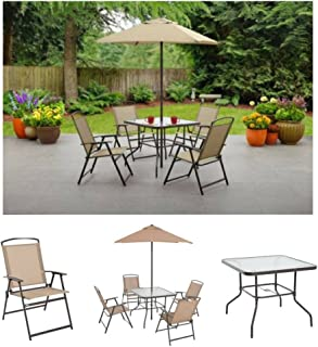Albany Lane 6-Piece Folding Dining Set By Mainstays, Patio Table, Patio Folding Chair, Patio Umbrella, Patio Dining Set, Outdoor Decorations, Outdoor Dining Set (Tan)