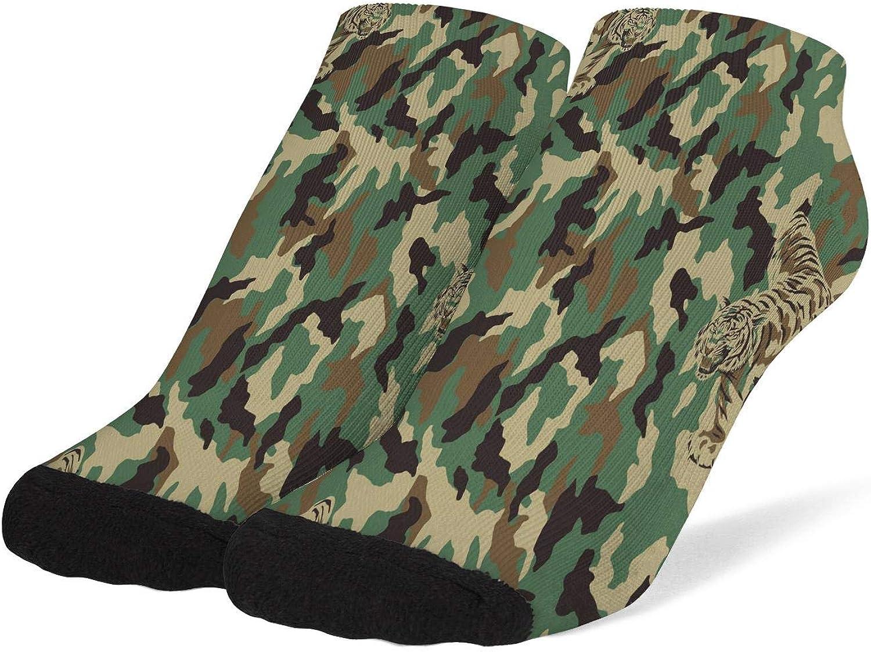 Women Tiger in Camouflage Pattern Socks Cotton No Show Low Cut Socks Ankle Sock