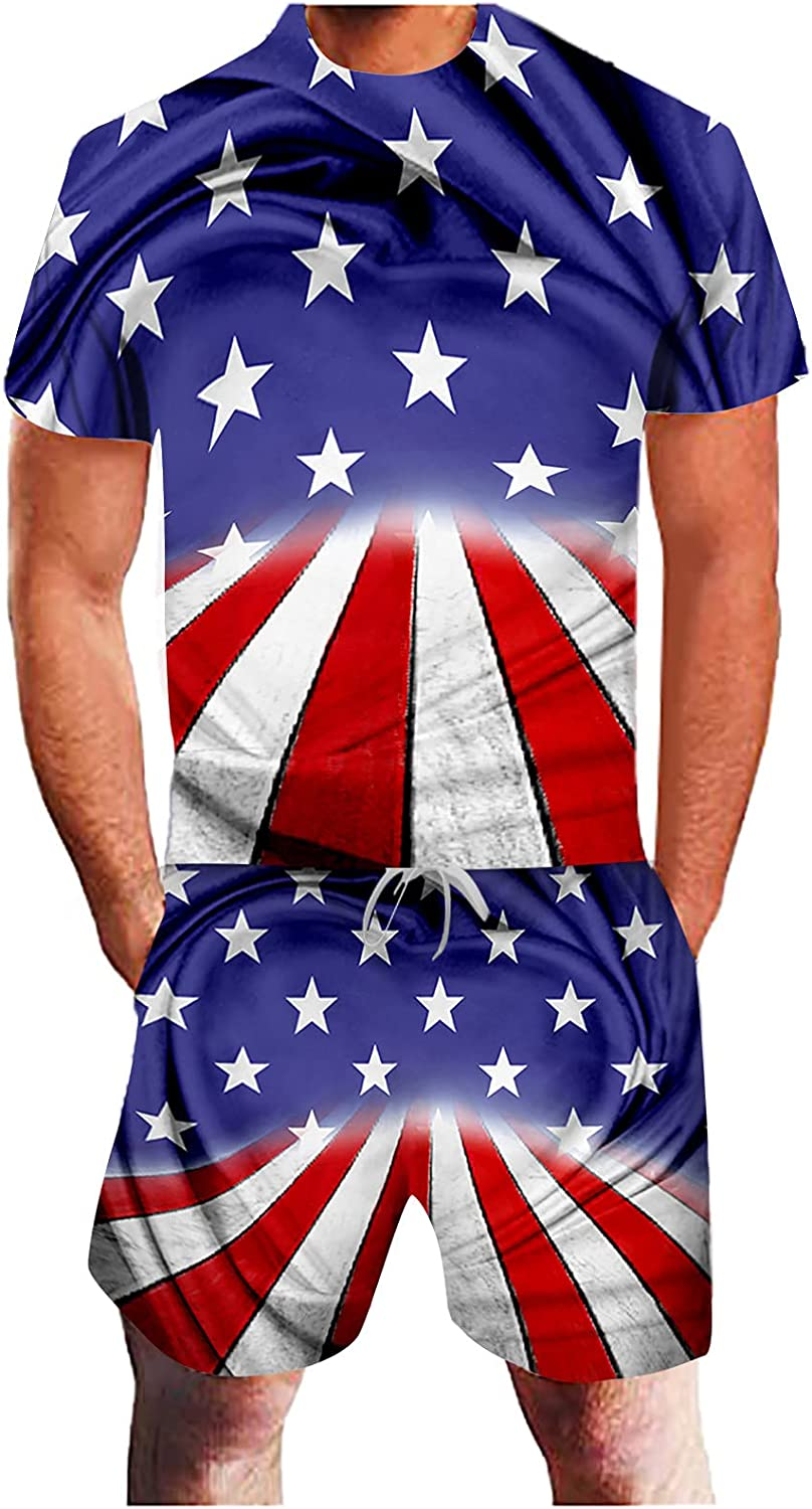 FUNEY Men's USA Flag Tracksuit 4th of July Shirts for Men 2 Pieces Short Sleeve Shirt and Shorts Suit Hawaiian Outfits