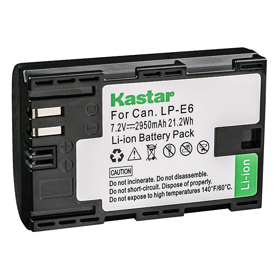 Kastar LP-E6 Camera Battery Replacement for Canon EOS 5D Mark II, 5D Mark III, 5D Mark IV, 5DS, 5DS R, 6D, 6D Mark II, 7D, 7D SV, 7D Mark II, 60D, 60Da, 70D, 80D, XC10, XC15, Canon LP-E6N LC-E6 LC-E6E
