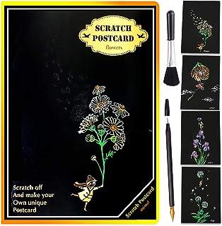Dessin Gratter & Carte Postale pour Adultes, GLAUCUS Scratch Art Dessin Papier à Gratter 4PCS Feuilles à Gratter Stylet Br...