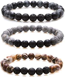 Bivei Essential Oil Bracelets, Lava Rock Stone Beads Diffuser Bracelet Gemstone Aromatherapy Bracelet