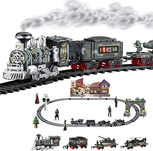 BABA FAB Classic Electric Train Set w/ Lights Sounds & Real Smoke (Military Toy Train)
