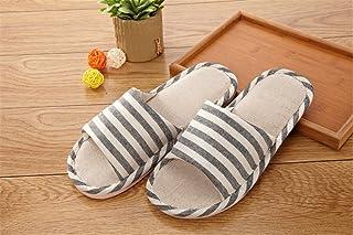 Darin Stripe Linen Slippers Indoor Slippers Cotton Linen Couple Non-slip Soft Home Slippers (44-45, Black)