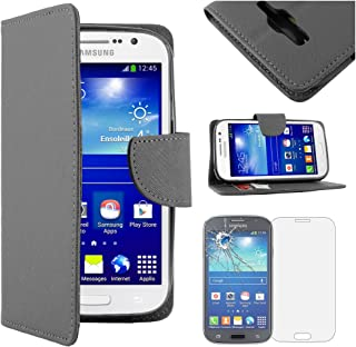 ebestStar - Compatible Funda Samsung Grand Plus Galaxy GT-i9060I, Grand Lite Carcasa Cartera Cuero PU, Funda Billetera Ranuras Tarjeta Stand, Negro + Cristal Templado [Aparato: 143x77.1x9.6mm 5.0