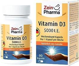Cápsulas de Vitamina D3 5000 I.E. de ZeinPharma • 90 cápsulas (24 meses de suministro) • solo una cápsula por semana • Hecho en Alemania