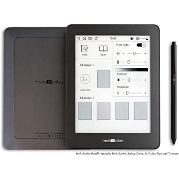 MobiScribe 6'8 E-Ink Tablet Bundle - 6.8 Digital Notepad, Anti Glare Screen, Touch Screen Display, Adjustable Built in Warm/Cold Light, Low Power Consumption, WiFi, Android