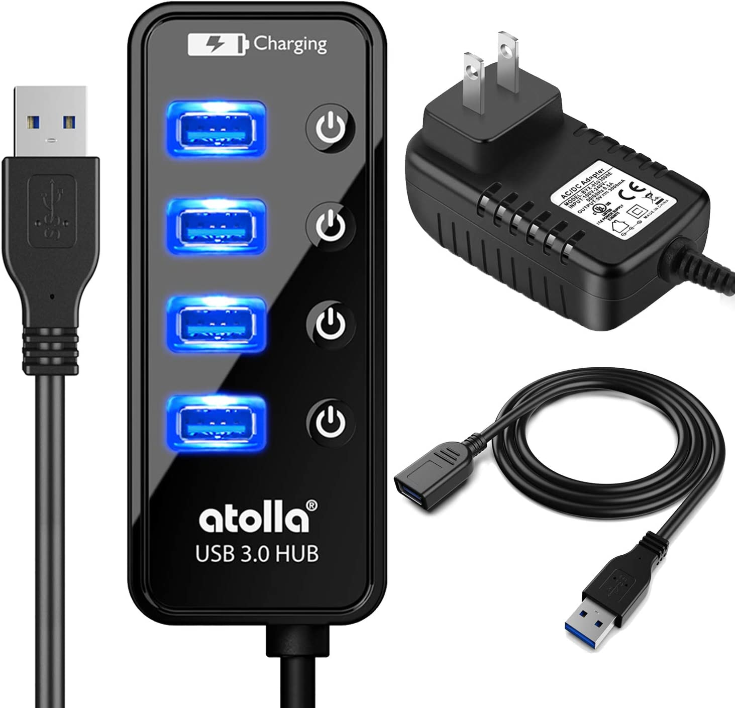 Powered USB Hub Long Cord, atolla USB 3.0 Hub 4 + 1 Data Transfer and Charging Multiport with Power Supply Adapter 15W (5V/3A) and 3.3ft Meter USB 3 Extension Cable