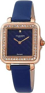 Akribos XXIV Women's Swarovski Crystal Square Watch - Embossed Argyle Dial, Genuine Diamond at 12 O'clock On Genuine Leath...