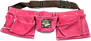 9 Pocket Tool Belt Pouch Heavy Duty Pink Suede Leather Fits Hammer And Nails