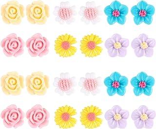 Spiritlele 12 Pairs Colors Crystal Flower Face Magnetic Clip Non Piercing Earrings Set Unisex