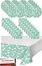 Fresh Mint Fractal Geometric Triangles Party Supplies Bundle Pack for 16 - Plates, Napkins and Table Cover (Plus Party Planning Checklist by Mikes Super Store) (Teal)