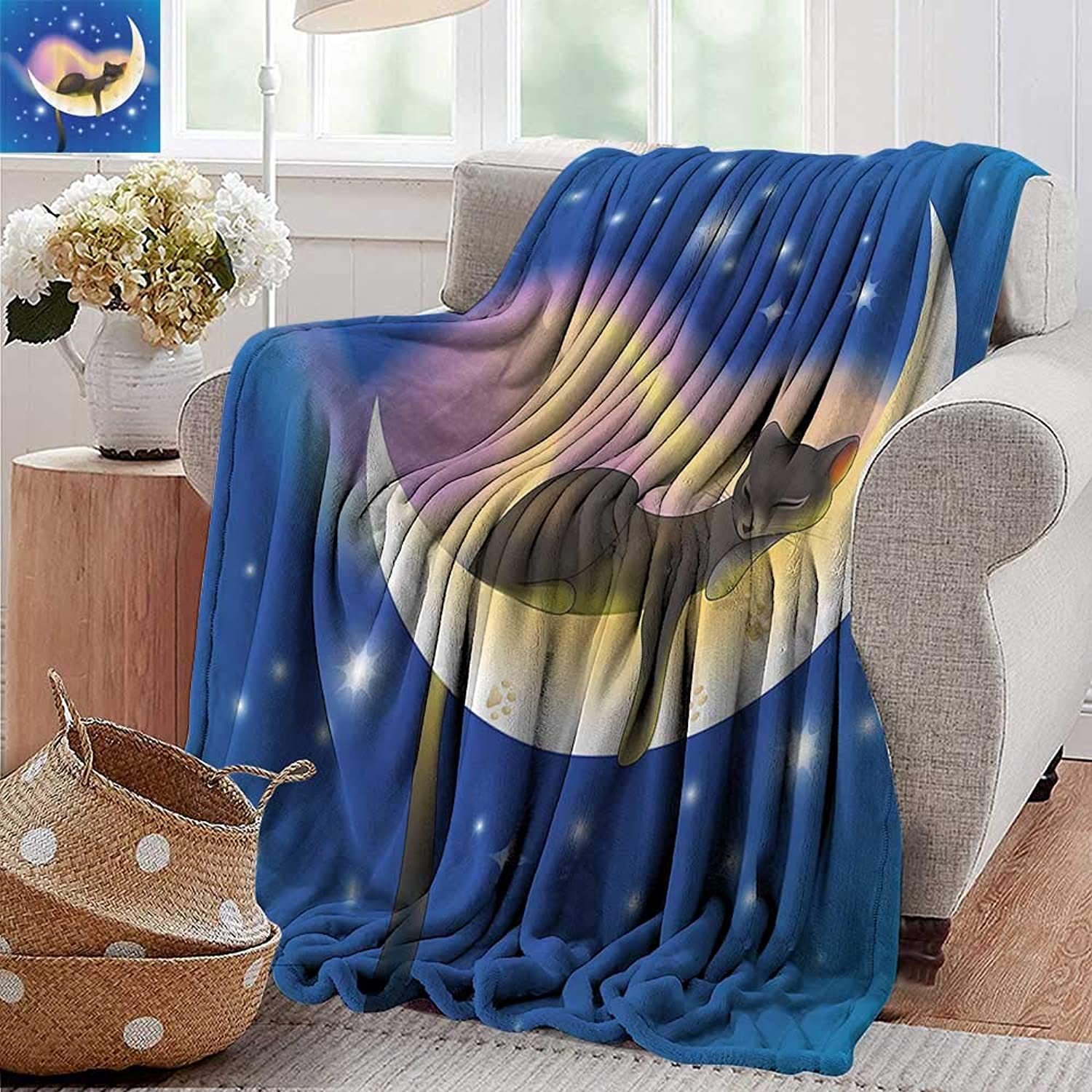 PearlRolan Faux Fur Throw Blanket,Cat,Cat Sleeping on Crescent Moon Stars Night Sweet Dreams Themed Kids Nursery Design,bluee Yellow,Soft Fabric for Couch Sofa Easy Care 50 x60