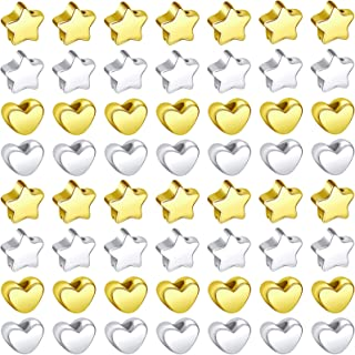 300 Pieces Silver Gold European Small Hole Spacer Beads Star Shape Beads Heart Shape Spacer Beads Jewelry Charm Loose Bead...