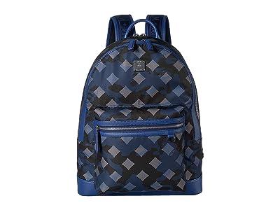 MCM Dieter Munich Lion Camo Nylon Backpack 40 (Estate Blue) Backpack Bags