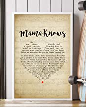 Trendora Decor Mama Knows Song Lyrics Portrait Poster Print (16