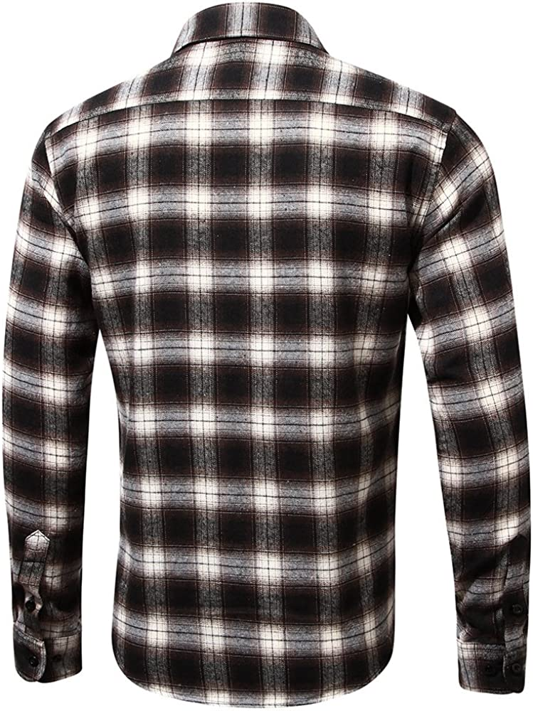 Men's Regular Fit Cotton Button Down Plaid Long Sleeve Work Casual Shirts