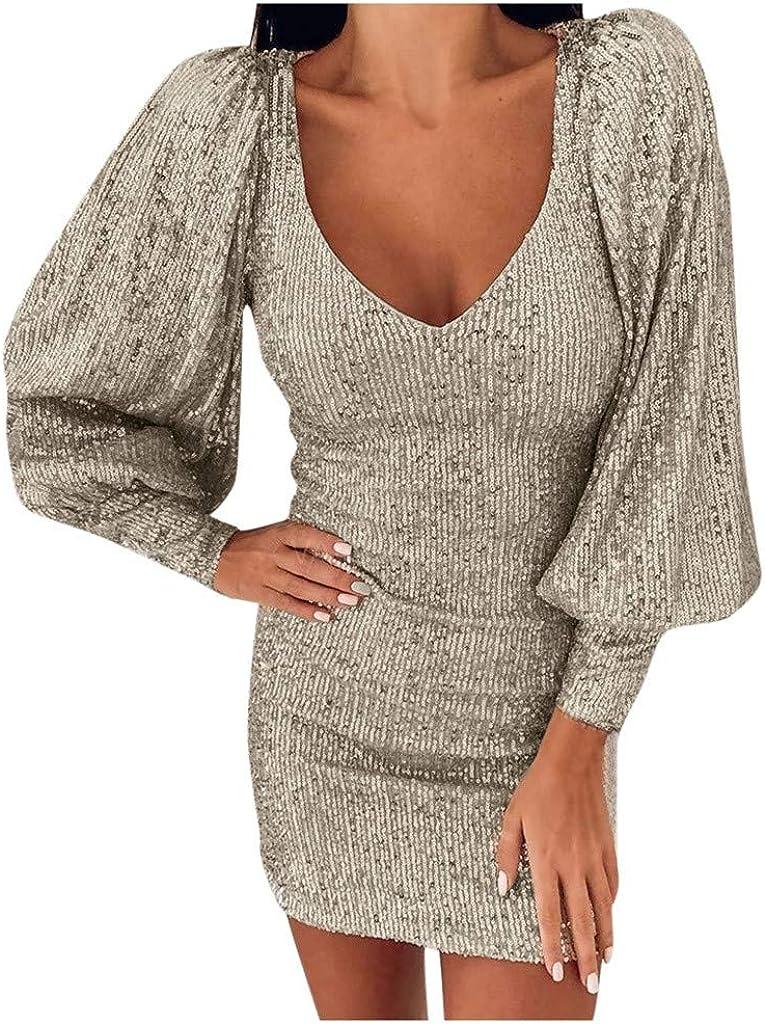 Litetao Ladies Club Puff Sleeve Evening Cocktail Dress Sequin Vintage V Neck Evening Maxi Party Dress